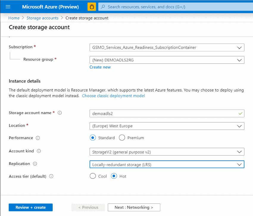 Azure Portal Creating ADLS