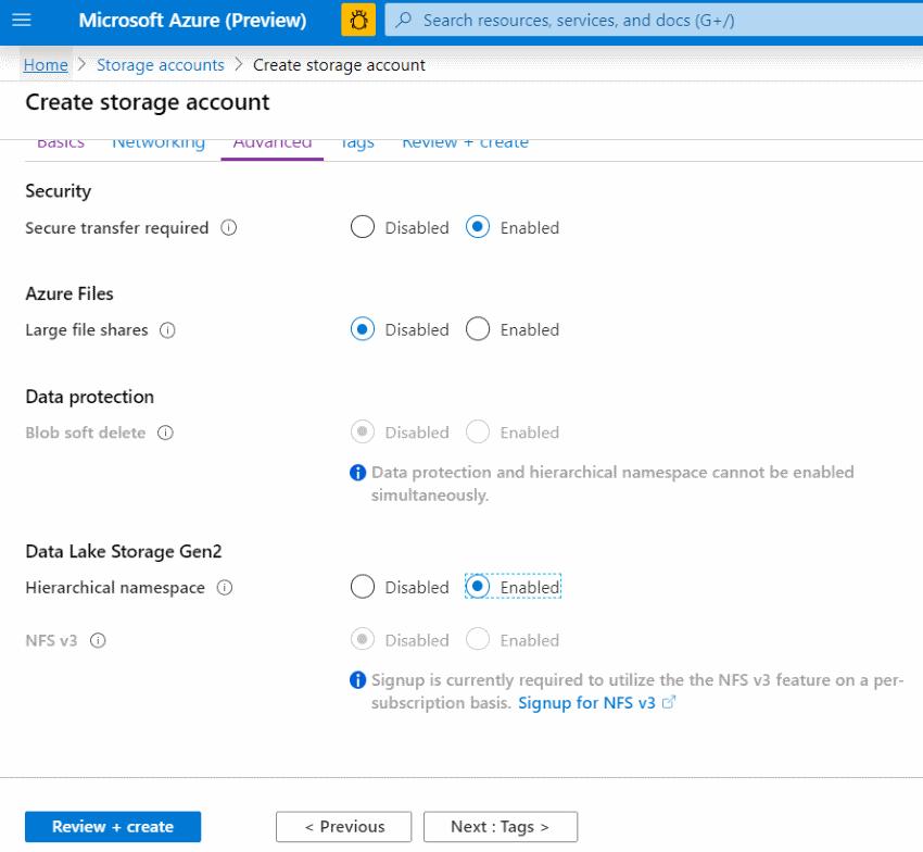 Azure Portal Creating ADLS HNS