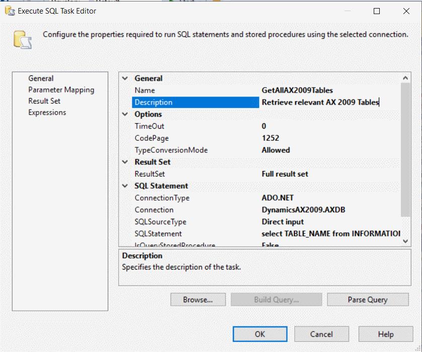 Execute SQL Task Dialog