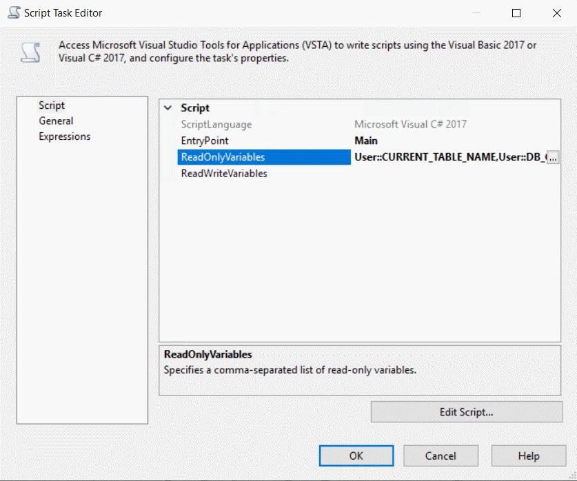 Script Task Editor
