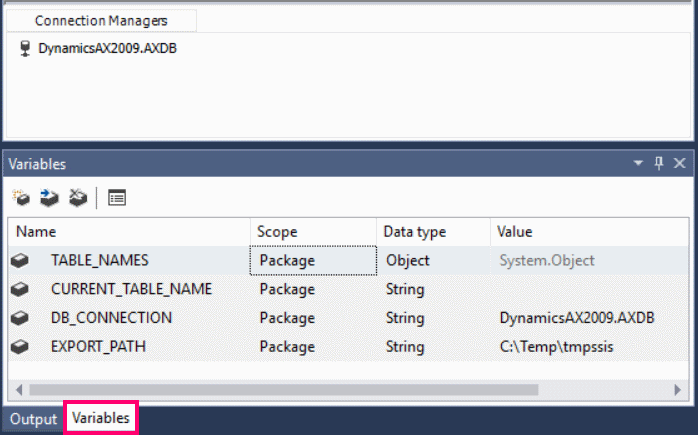 Variables in SSIS Project